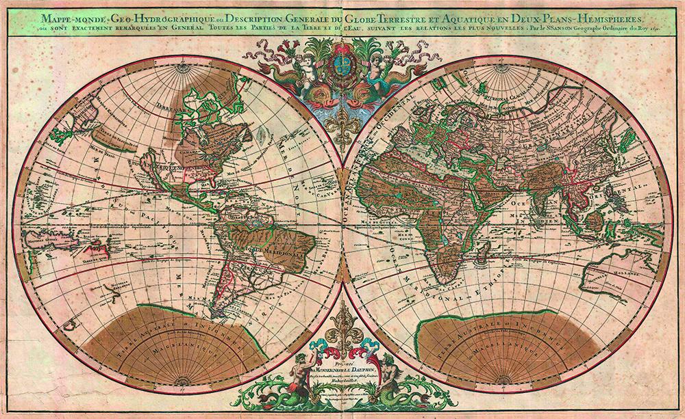 1691sansonmapoftheworldonhemisphereprojection geographicus world sanson 1
