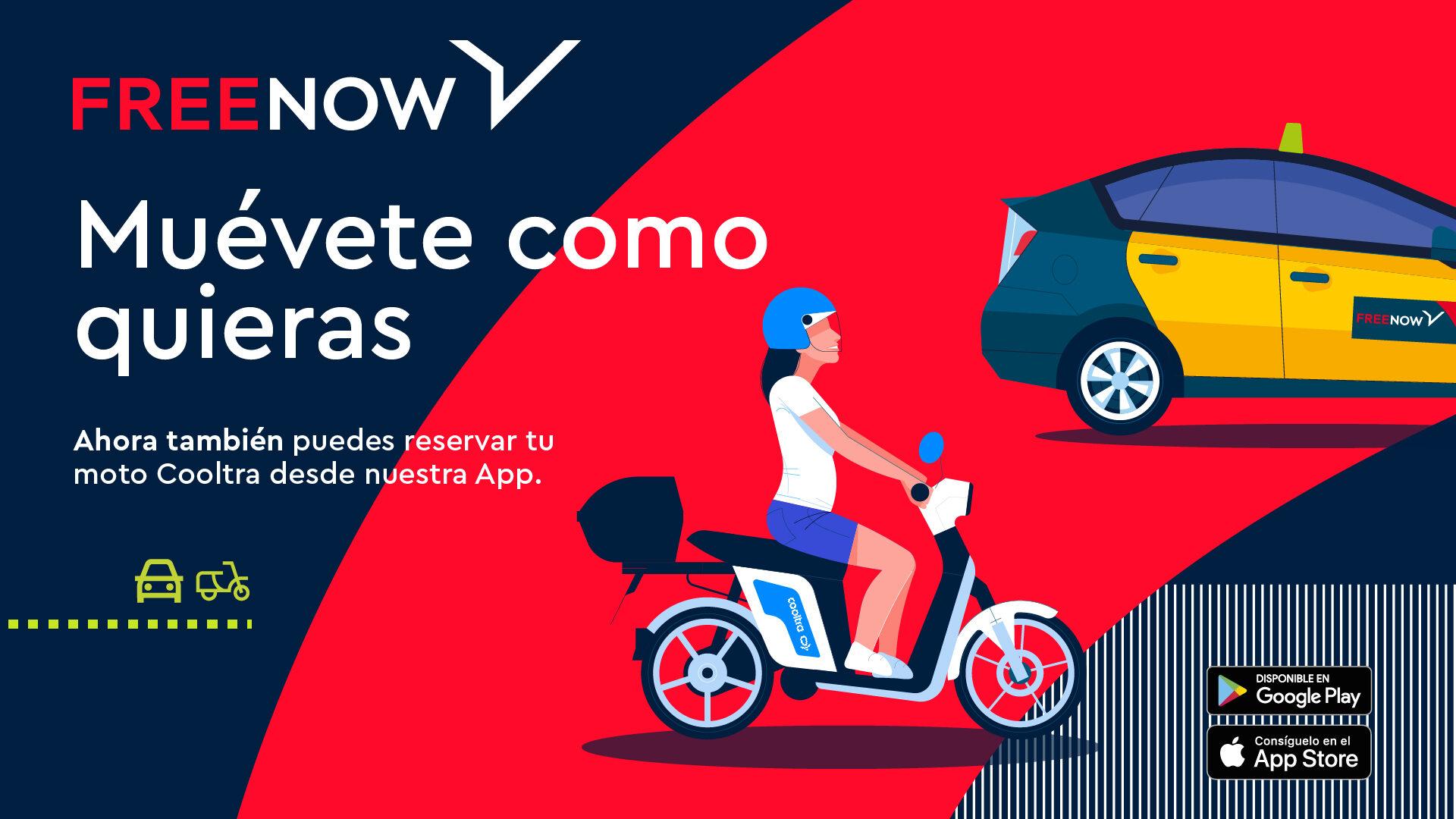 Free Now alquiler de motos Cooltra