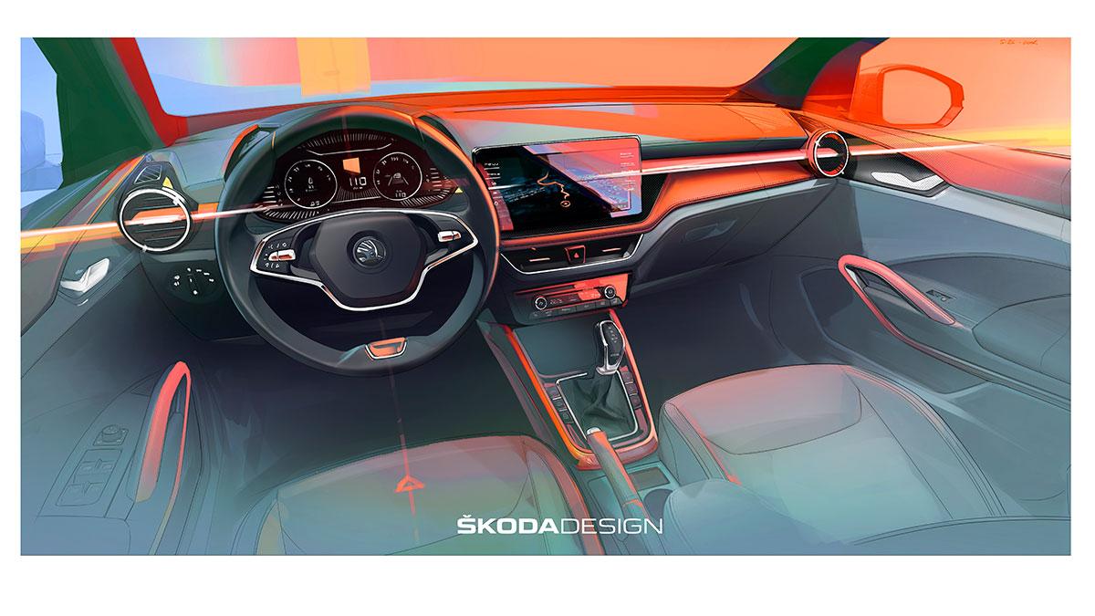 Skoda desvela el primer render oficial del interior del nuevo Skoda Fabia