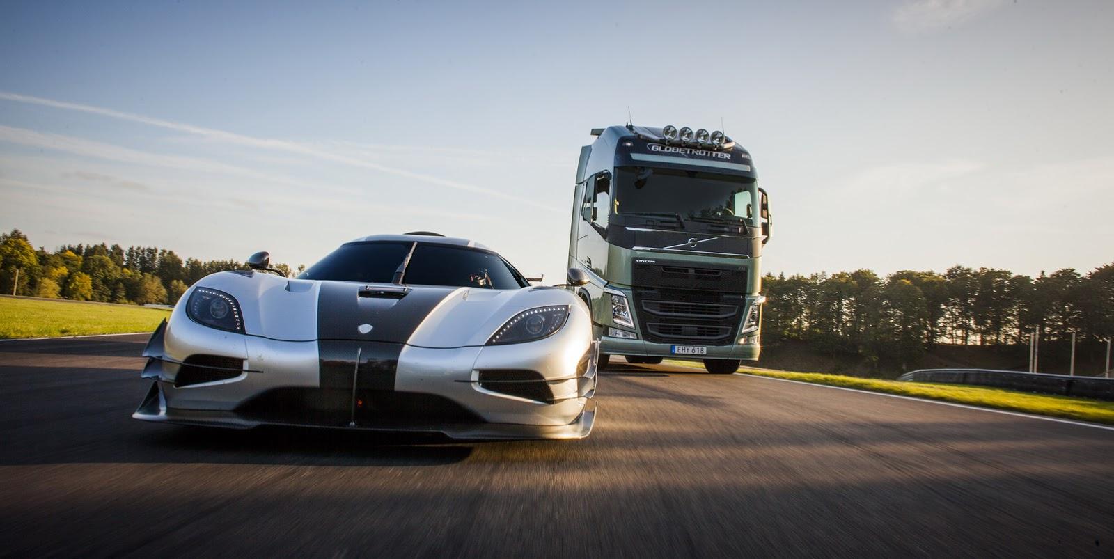 Volvo Trucks contra un Koenisegg One, ya sabemos el resultado