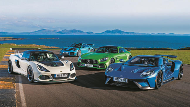 Comparativa: Lotus Exige Cup 430, Mercedes-AMG GT R, Ford GT y Porsche 911 GT2 RS