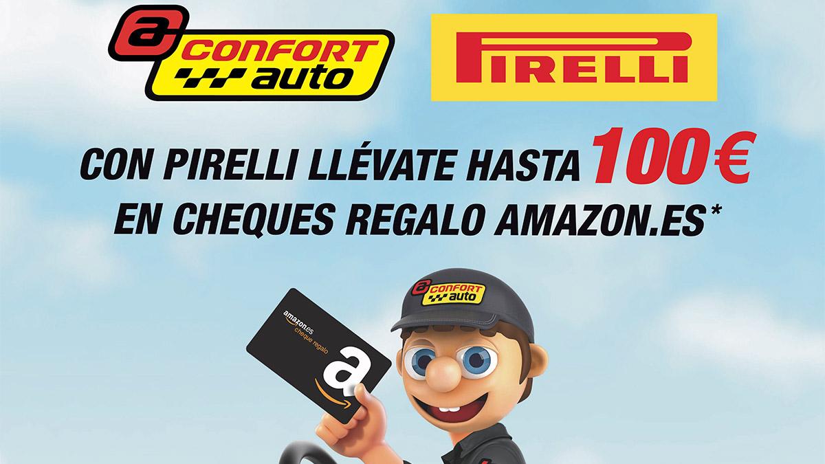 Consigue tarjetas regalo de hasta 100 euros en Amazon por la compra de neumáticos Pirelli en Confortauto