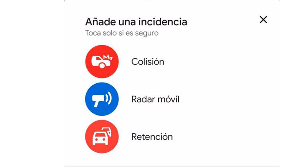 Google Maps notificacion de incidencia