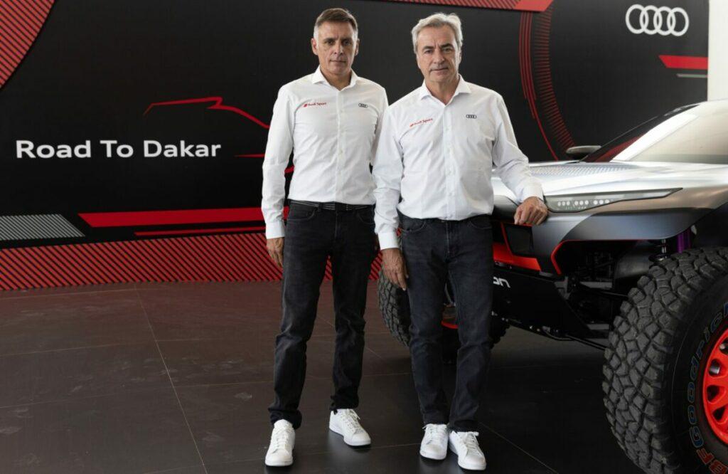 Carlos Sainz y Lucas Cruz con el Audi RS Q e-tron del Dakar