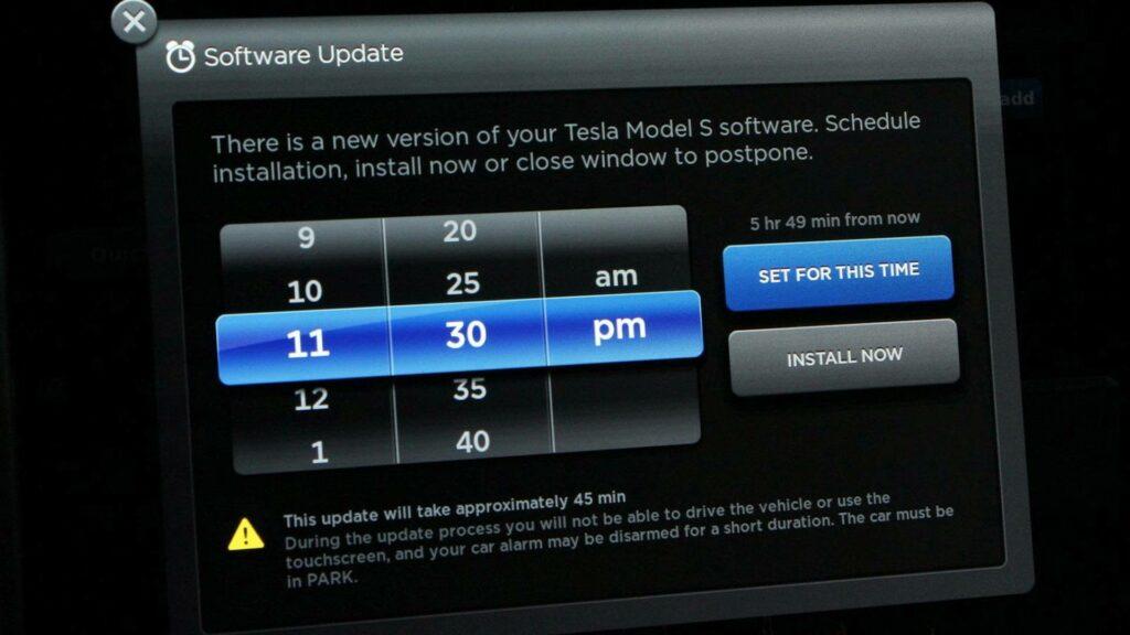 Actualización Over The Air en un Tesla Model S - pantalla de confirmación