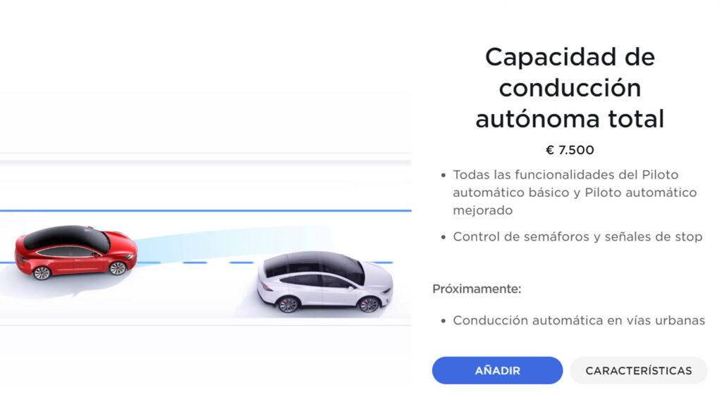 Configurador de Tesla -  Compra de conducción Autónoma Total